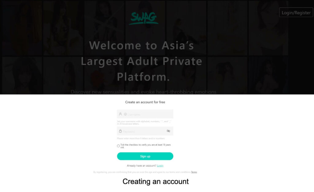 Creating Swag.live account